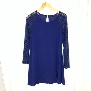 4/$20 Navy Dress with Lace Sleeves 284